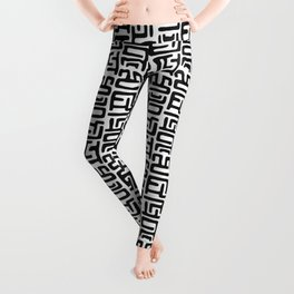 Black And White African Abstract Shapes Leggings