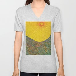 Here Comes the Sun - Van Gogh impressionist abstract Unisex V-Neck