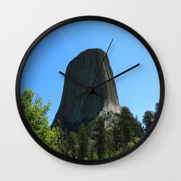 Devils Tower Rising Into The Sky Wall Clock