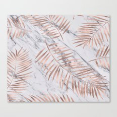 Rose gold palm fronds on marble Canvas Print