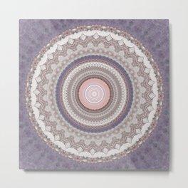 Purple Marble Pink Mandala Metal Print