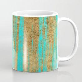 Modern turquoise gold watercolor artistic brushstrokes Coffee Mug