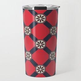 Novos começos Floral Portuguese Azulejo Tile Seamless Pattern Travel Mug