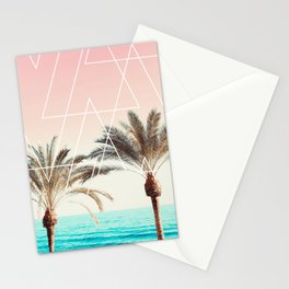 Modern tropical palm tree sunset pink blue beach photography white geometric triangles Stationery Cards