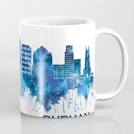 Durham North Carolina Skyline Blue Coffee Mug