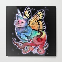 Cat Rainbow butterfly unicorn octopus Metal Print