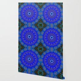 Mandala in Cobalt And Gold Wallpaper
