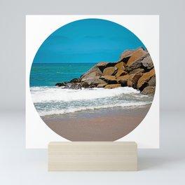 The Ocean Rocks! (Large Circular Image on Square Background) Mini Art Print