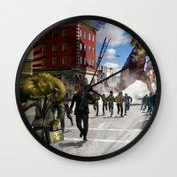 dinosaur Wall Clocks featuring Dinosaur by Beery Method