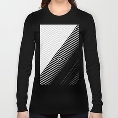 Modern Simple Black Stripes and White Color Block Long Sleeve T-shirt