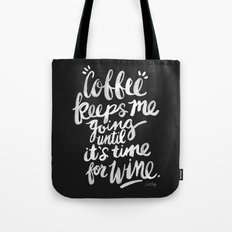 Coffee & Wine – White Ink Tote Bag