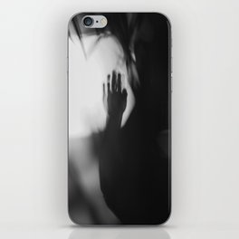 A Lonely Hand, wrist, in shadow, black and white iPhone Skin