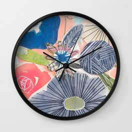 Blue and Peach Bouquet Wall Clock