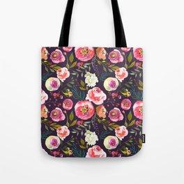 Floral watercolor chalk print pink peonies Tote Bag