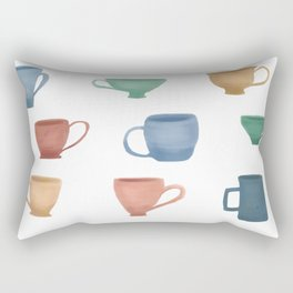 Colorful Tea Cups and Coffee Mugs Rectangular Pillow