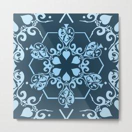 Dark Navy & Ice Blue Vintage Art Nouveau Textile Metal Print