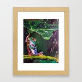 Tree Frog with a Leaf Umbrella Framed Art Print