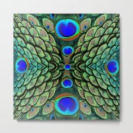 Green-Blue Peacock Feathers Art Patterns Metal Print