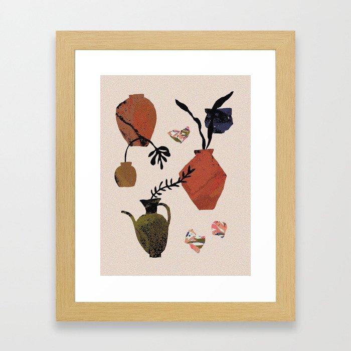 Terracotta Vases and Ceramic Fragments Framed Art Print