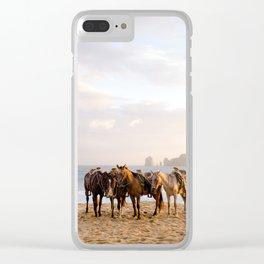 Horses on the beach Clear iPhone Case