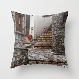 Empty village and a bicycle Throw Pillow