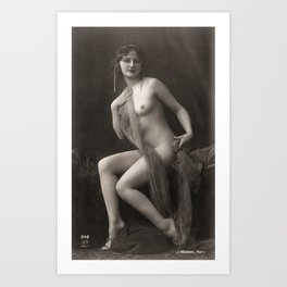 Vintage Risque Nude Art Study Lady With Scarf And Pearls R4 Art Print