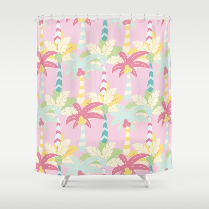 Modern Girly Pink Teal White Abstract Palm Tree Shower Curtain By Water