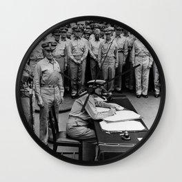 Admiral Nimitz Signing The Japanese Surrender Wall Clock