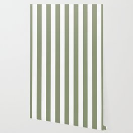 Artichoke grey - solid color - white vertical lines pattern Wallpaper