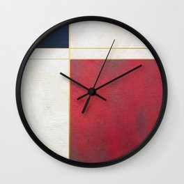 Blue, Red And White With Golden Lines Abstract Painting Wall Clock