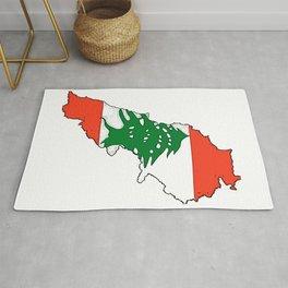 Lebanon Map with Lebanese Flag Rug