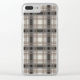 Brown Plaid with tan, cream and gray Clear iPhone Case