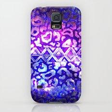 TRIBAL LEOPARD GALAXY Animal Print Aztec Native Pattern Geometric Purple Blue Ombre Space Galactic Slim Case Galaxy S5