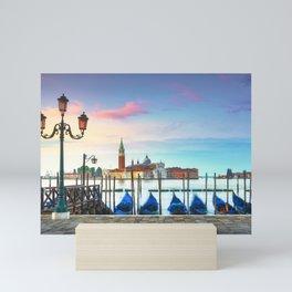 Venice lagoon, San Giorgio church, gondolas and poles. Italy Mini Art Print
