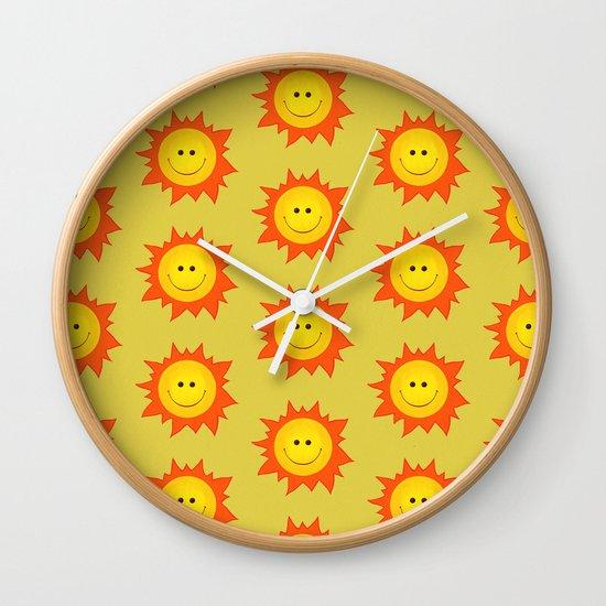 Happy Cartoon Sun Pattern Wall Clock