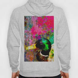 mallard duck with pink green brown purple yellow painting abstract background Hoody