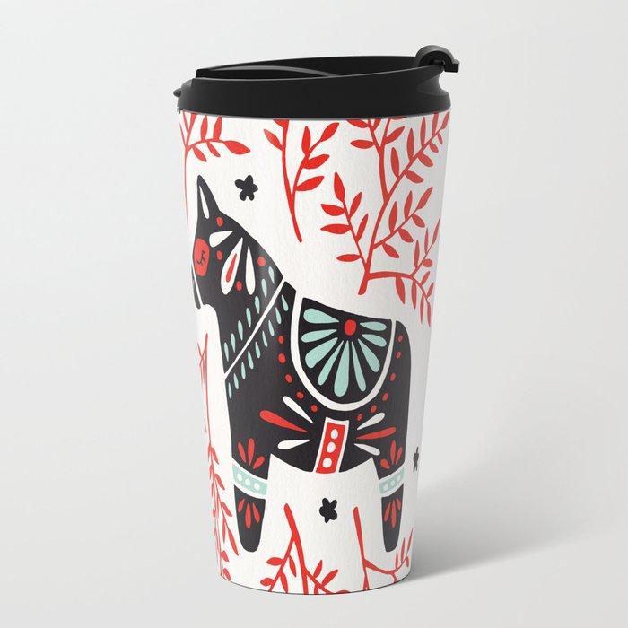 Swedish Dala Horses – Red and Black Palette Travel Mug