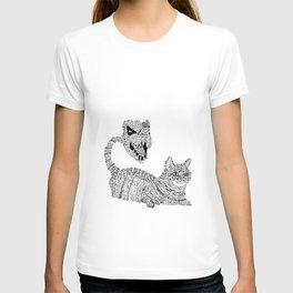 Cat / T-Rex : Happy / Not Happy T-shirt