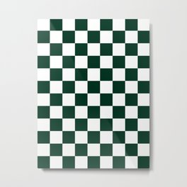 Checkered - White and Deep Green Metal Print
