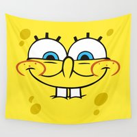 spongebob Wall Tapestries featuring Spongebob Naughty Face by Cute Cute Cute