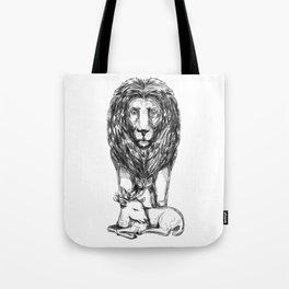 Lion Guarding Lamb Tattoo Tote Bag