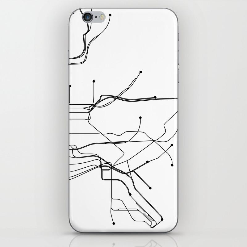 New York City Subway Map Black And White.New York City White Subway Map Iphone Skin By Multiplicity