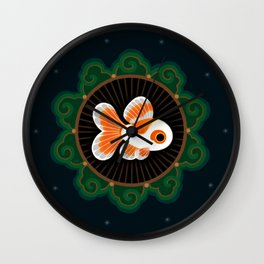 Butterfly goldfish - white Wall Clock