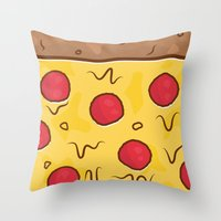 pizza Throw Pillows featuring Pizza by Michael Walchalk