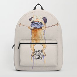 Hang in There Baby Pug Watercolor Backpack
