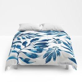 Blue Watercolor Leaves Comforters