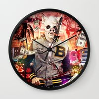 hotline miami Wall Clocks featuring Night Out: Hotline Miami by GiancarloVargas