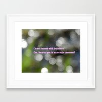 sarcasm Framed Art Prints featuring Bokeh Sarcasm by Casey J. Newman