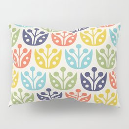 Mid Century Flower Pattern multicolored Pillow Sham