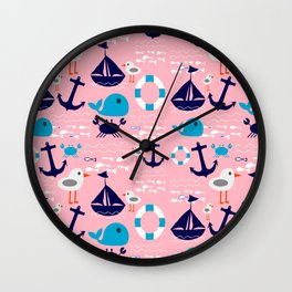 Summer boat pink Wall Clock